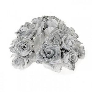 Anneau pour bougie roses glitter argenté