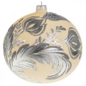 Boule de Noel verre ivoire décor florale 15 cm