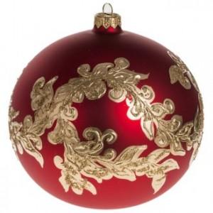 Boule de Noel verre rouge décorations or 15cm