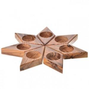 Candélabre en bois d'olivier, étoile