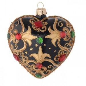 Coeur Noël noire et or pierres rouges 100 mm