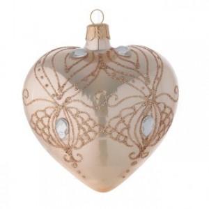 Décoration Noël coeur verre or et paillettes or 100 mm