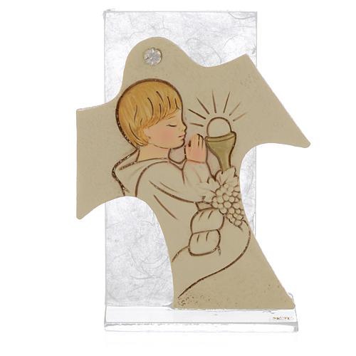 Bonbonnière Communion Garçon cadre blanc 11,5x8 cm