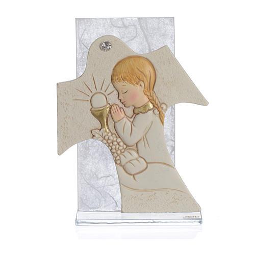 Cadre Communion Fille blanc 11,5x8 cm