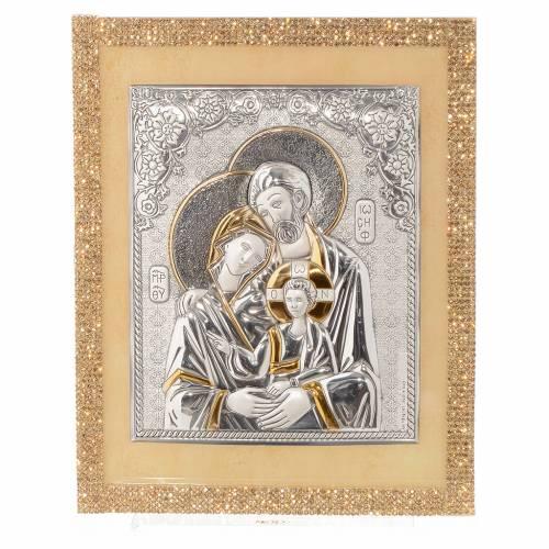 Cadre Ste Famille orthodoxe Swarovski or et argent 25x20 cm