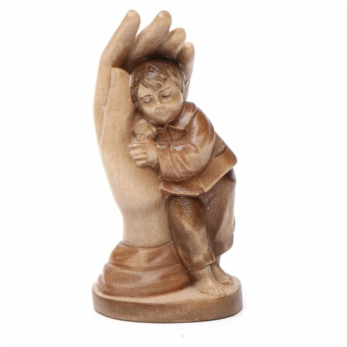 Main de Dieu avec enfant bois patiné multinuances Valgardena