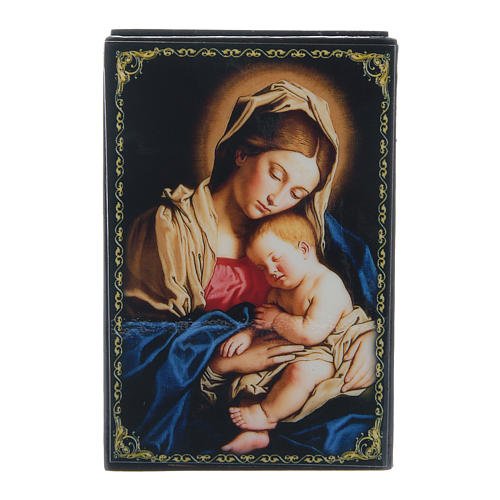 Laque papier mâché russe Vierge à l'Enfant 9x6 cm