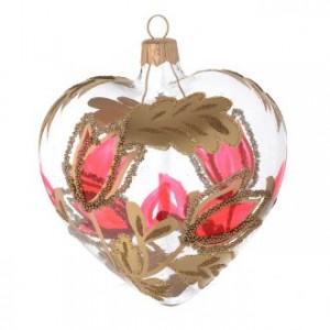 Décoration coeur verre motif rougeor relief 100 mm