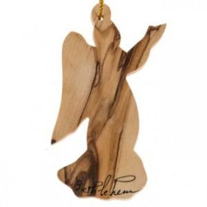 Décoration sapin bois olivier Bethléem ange